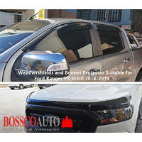 Black Weathershields Window Visors and Bonnet Protector Suitable for Ford Ranger MKIII 2018-2020